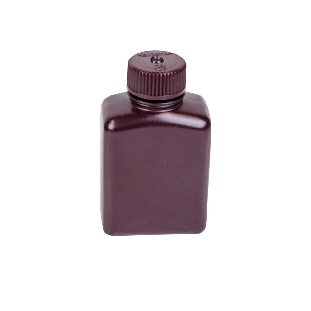 8 oz./250mL Nalgene™ Amber Rectangular Bottles with 38mm Caps (Sold by Case)