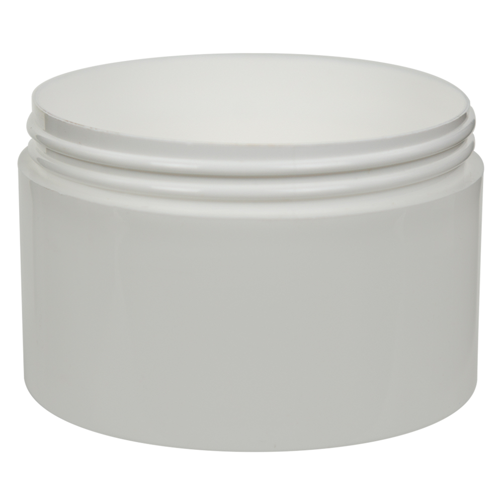 10 oz. White Polypropylene Straight Sided Jar with 100/400 Neck (Cap Sold Separately)