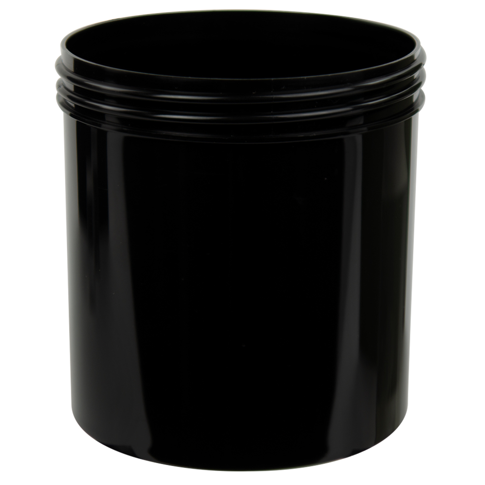 20 oz. Black Polypropylene Straight Sided Jar with 100/400 Neck (Cap Sold Separately)