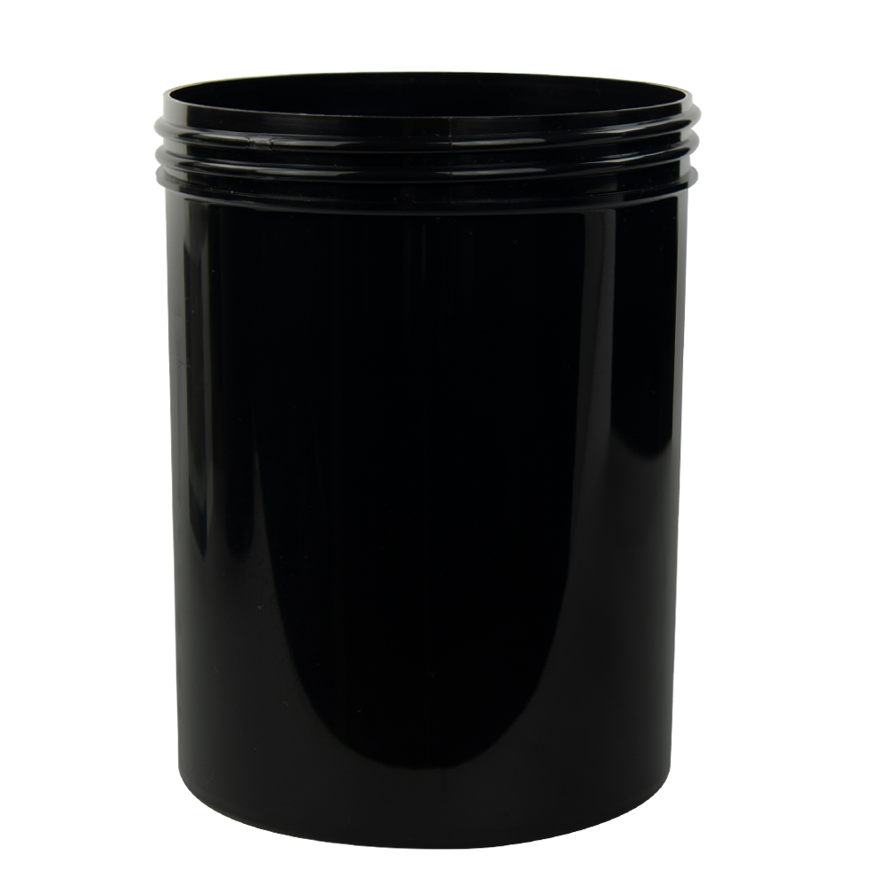 26 oz. Black Polypropylene Straight Sided Jar with 100/400 Neck (Cap Sold Separately)