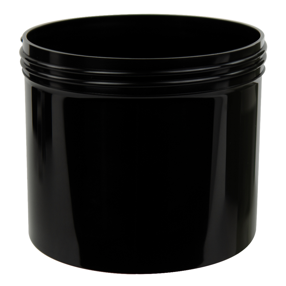 32 oz. Black Polypropylene Straight Sided Jar with 120/400 Neck (Cap Sold Separately)