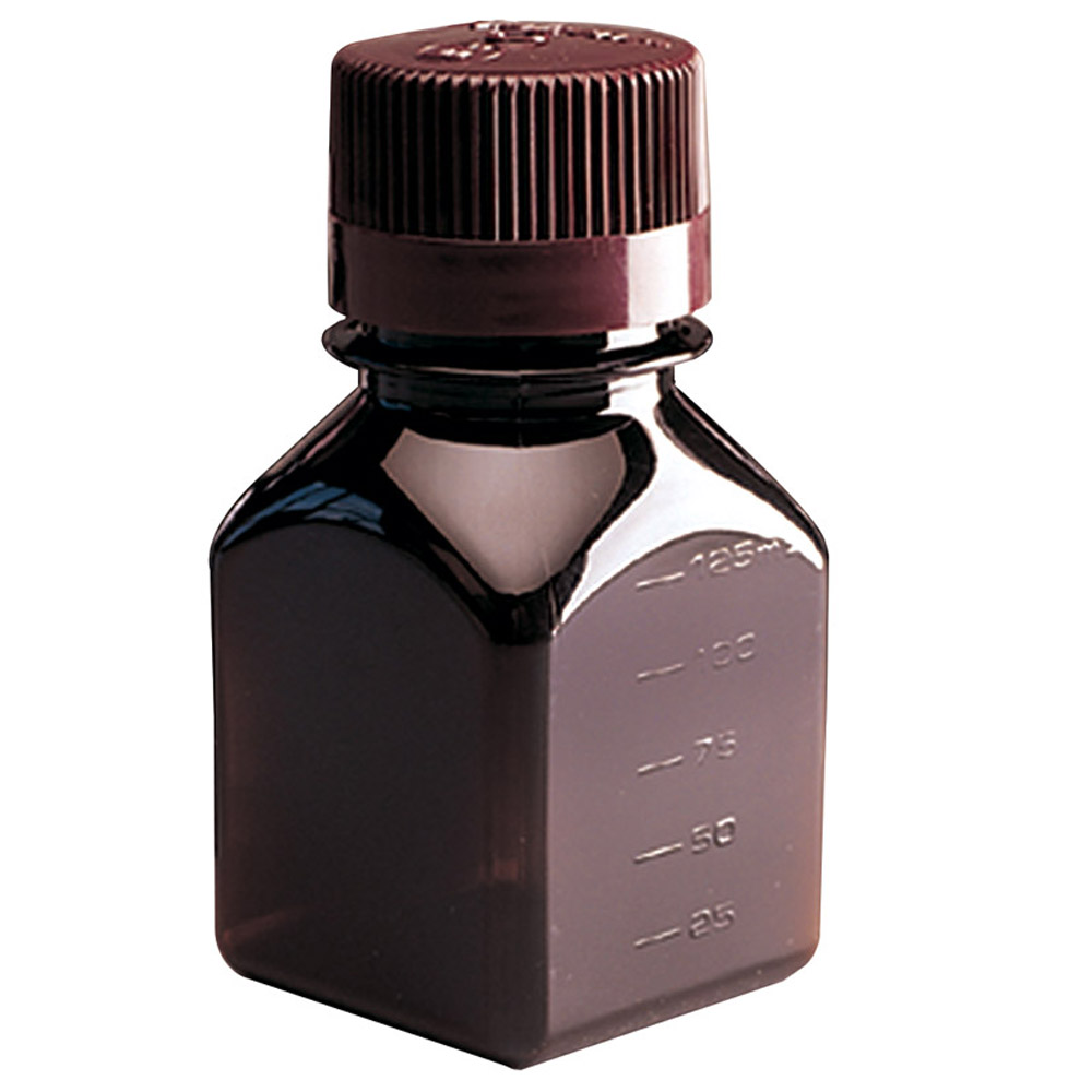 Thermo Scientific™ Nalgene™ Amber PETG Square Media Bottles with Caps