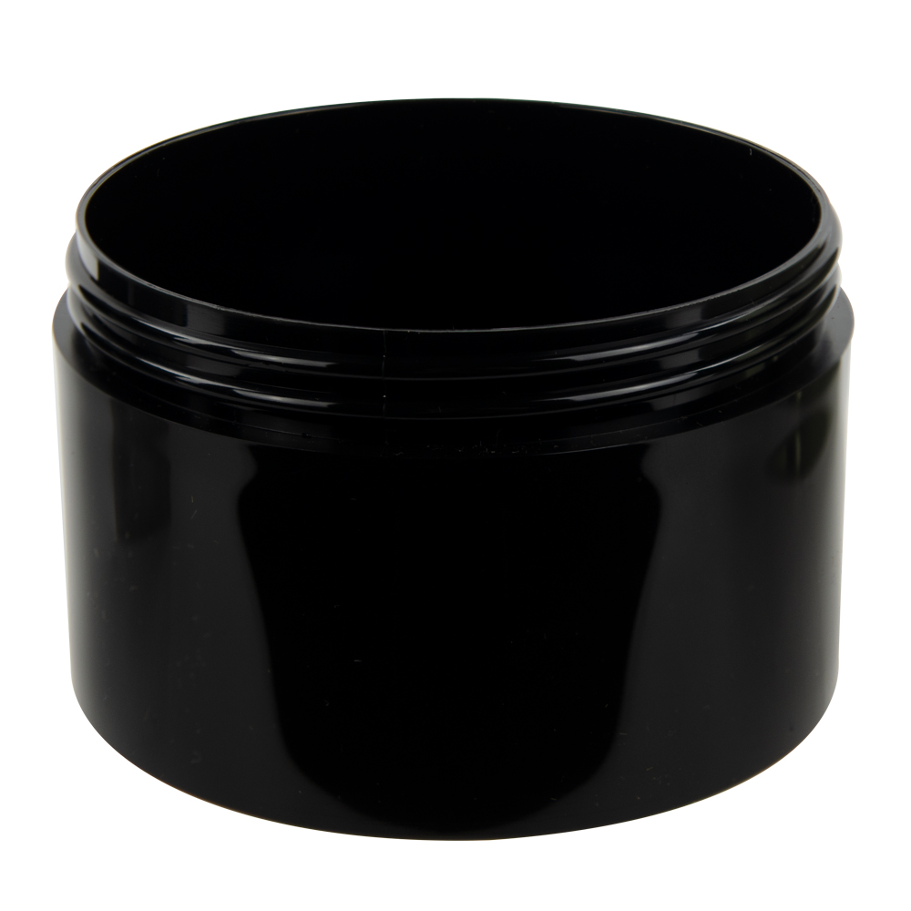 10 oz. Black Polypropylene Thick Wall Straight Sided Jar with 100/400 Neck (Cap Sold Separately)