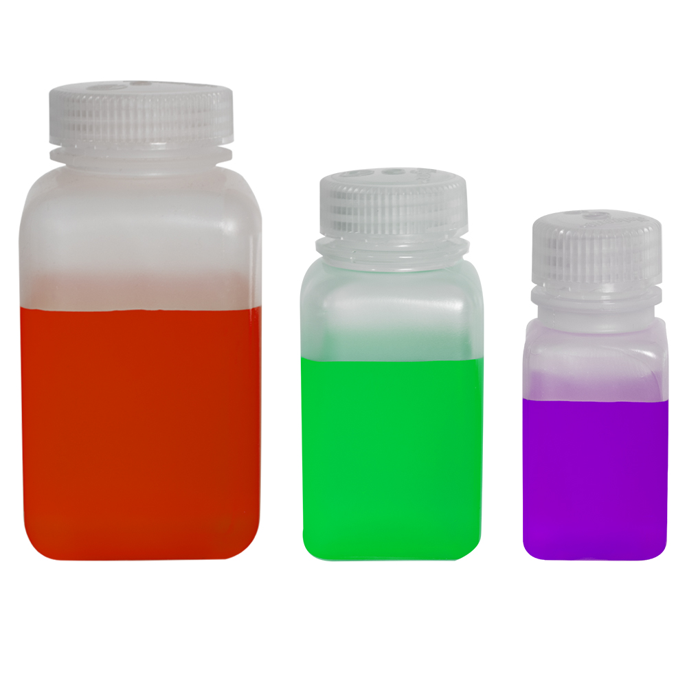 Thermo Scientific™ Nalgene™ Wide Mouth Polypropylene Square Bottles with Caps (Sold by Case)