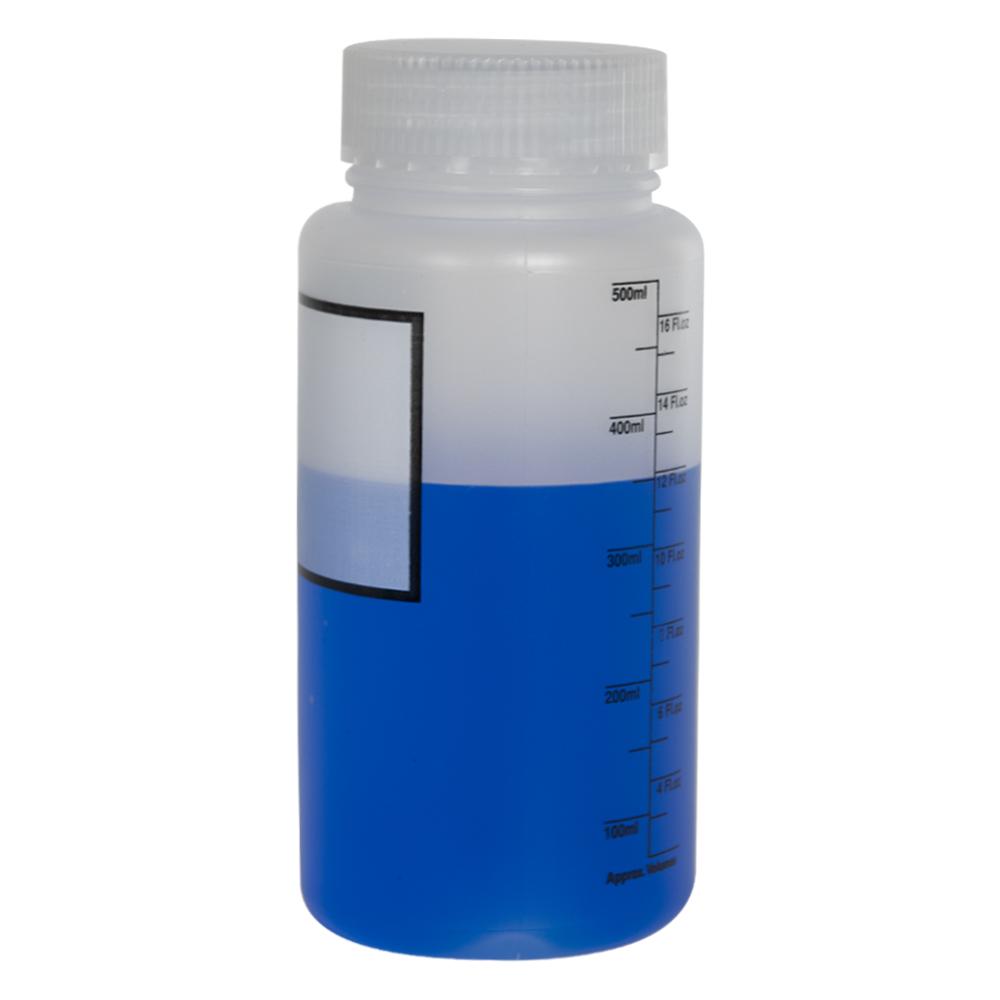 500mL Azlon® Polypropylene Graduated Label Bottle with 55mm Caps - Case of 12