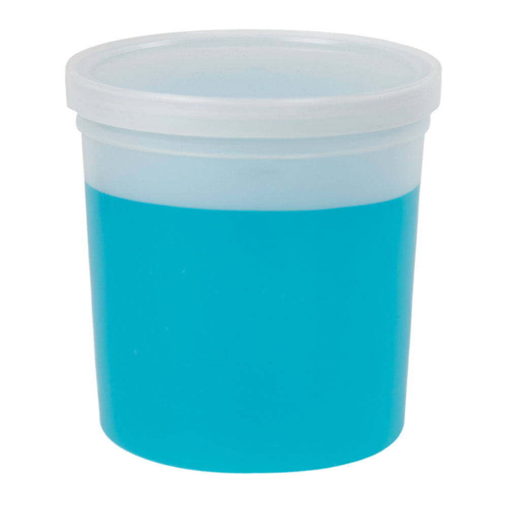 64 oz. Natural Specimen Containers with Lids - Case of 50