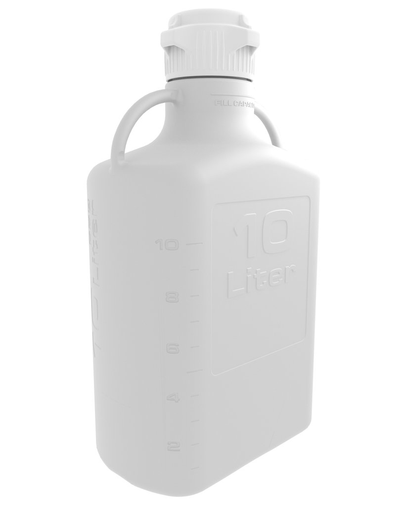 10L White EZgrip® Polypropylene Carboy with 83mm Closed Cap