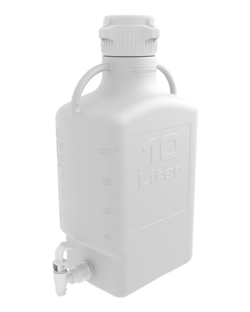 10 Liter White EZgrip® Polypropylene Carboy with 83mm Closed Cap & Spigot