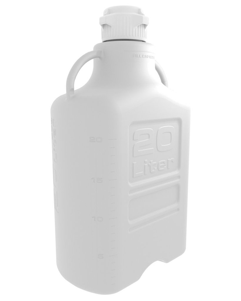 20 Liter White EZgrip® Polypropylene Carboy with 83mm Closed Cap
