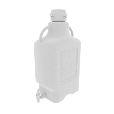 20L White EZgrip® Polypropylene Carboy with 83mm Closed Cap & Spigot