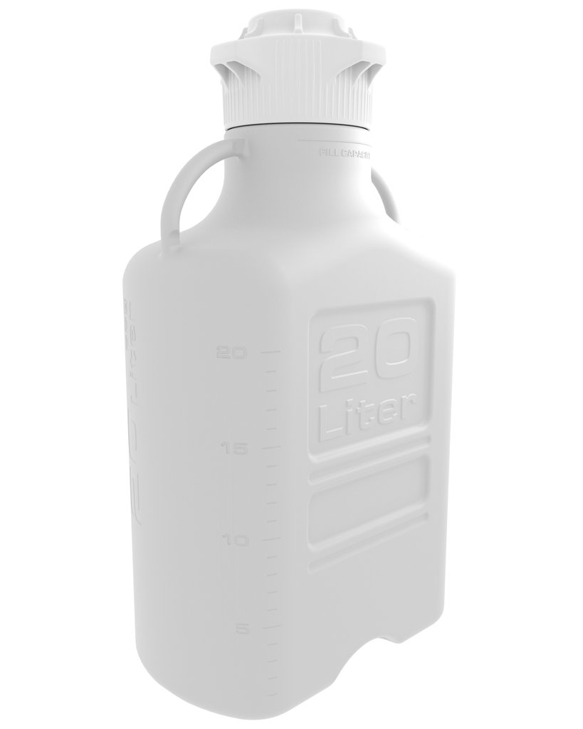 20 Liter White EZgrip® Polypropylene Carboy with 120mm Closed Cap