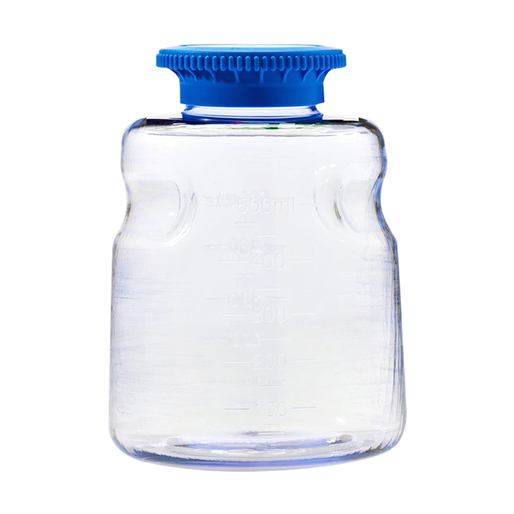500mL SECUREgrasp® Polycarbonate Sterile Bottles with 45mm Blue Caps - Case of 24
