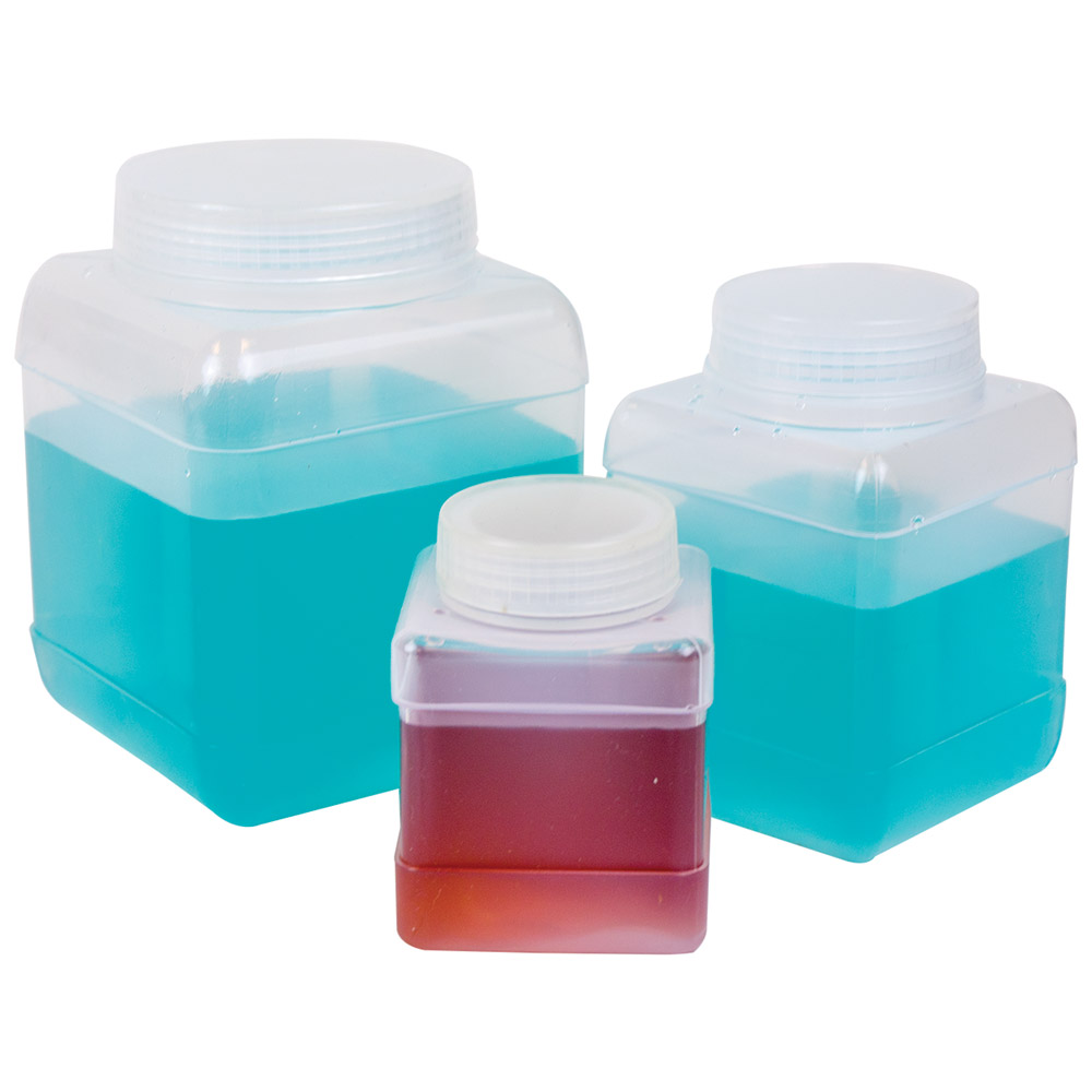Wide Mouth Square Storage Bottles with Caps