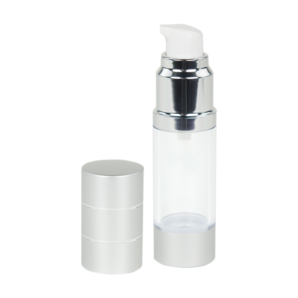 15mL Airless Bottle with Pump & Cap - Clear/Silver