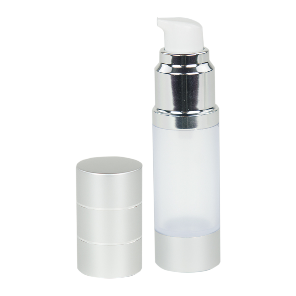 15mL Airless Bottle with Pump & Cap- Frosted/Silver