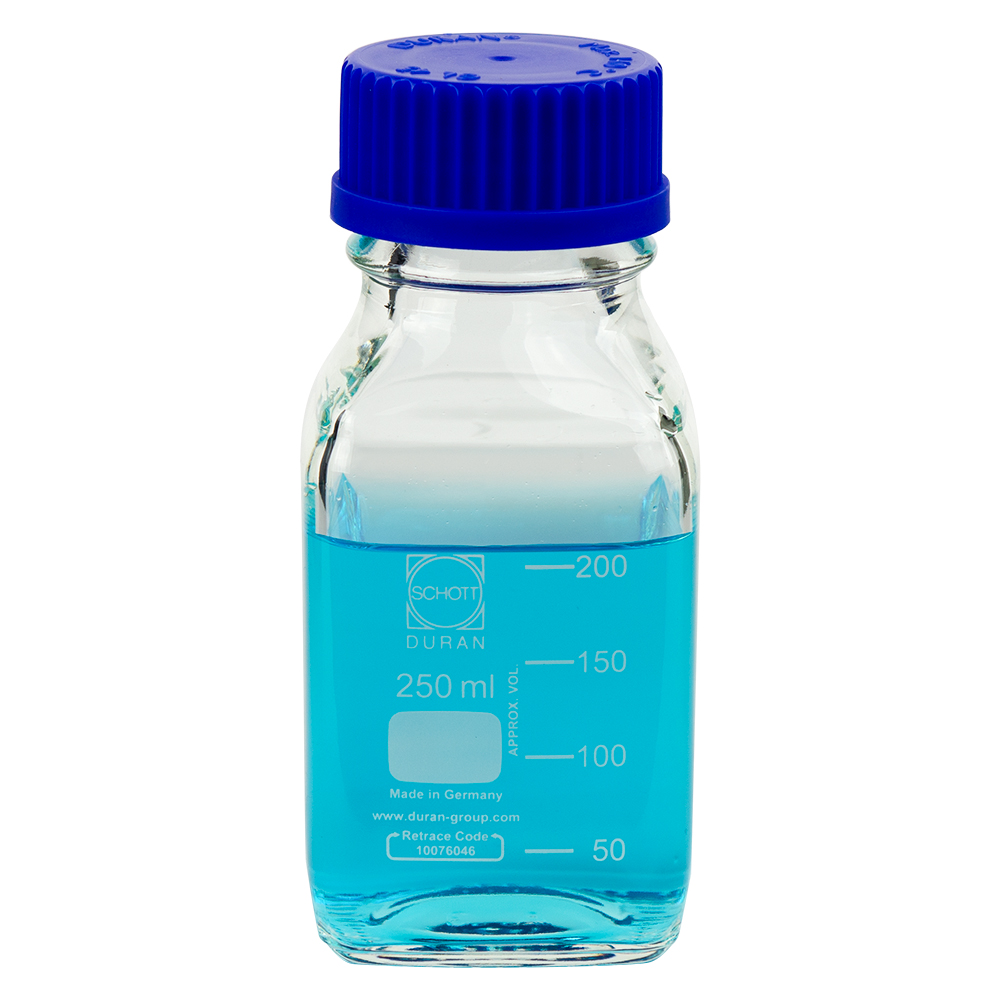 1000mL Square Glass Media/Storage Bottle with Cap