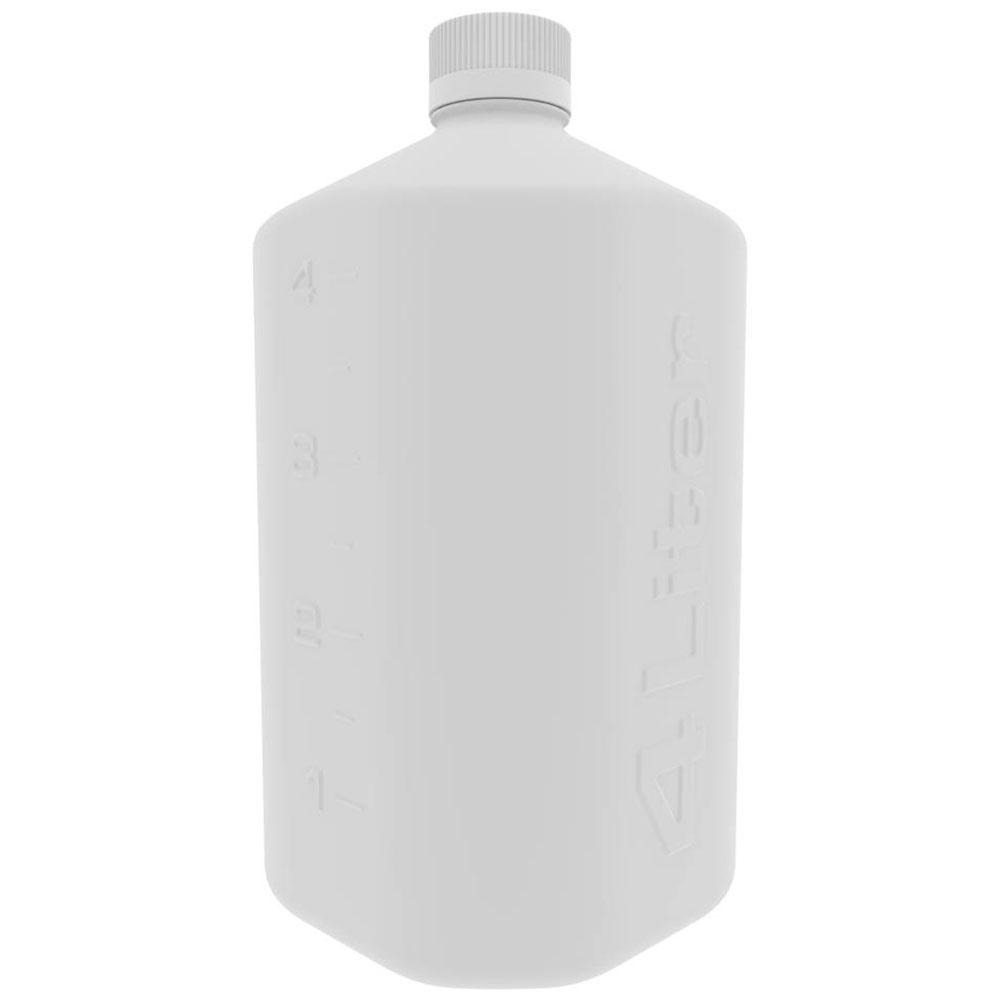 4 Liter White Polypropylene Boston Square Bottle with GL45 Cap