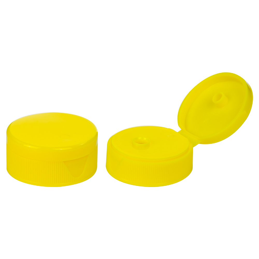 """38/400 Yellow Ribbed Snap-Top Dispensing Cap with 0.5"""" Orifice"""