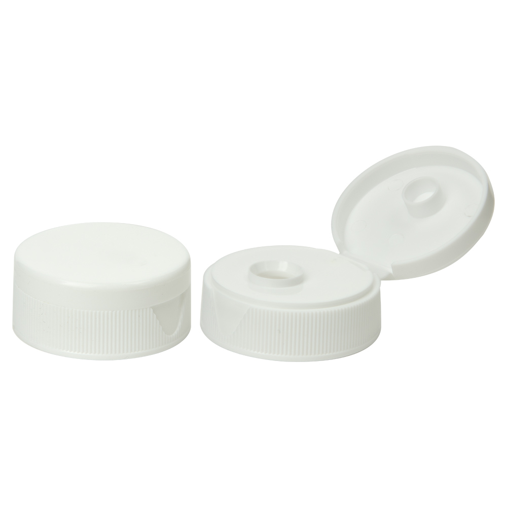 "38/400 White Ribbed Snap Top Cap with .6875"" Orifice"