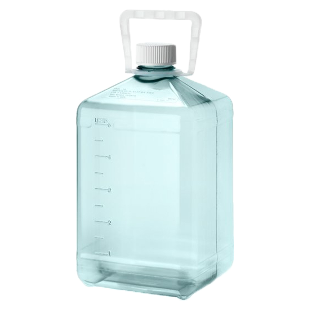 5 Liter Sterile Square Nalgene™ PC Biotainer™ Bottle with Handle