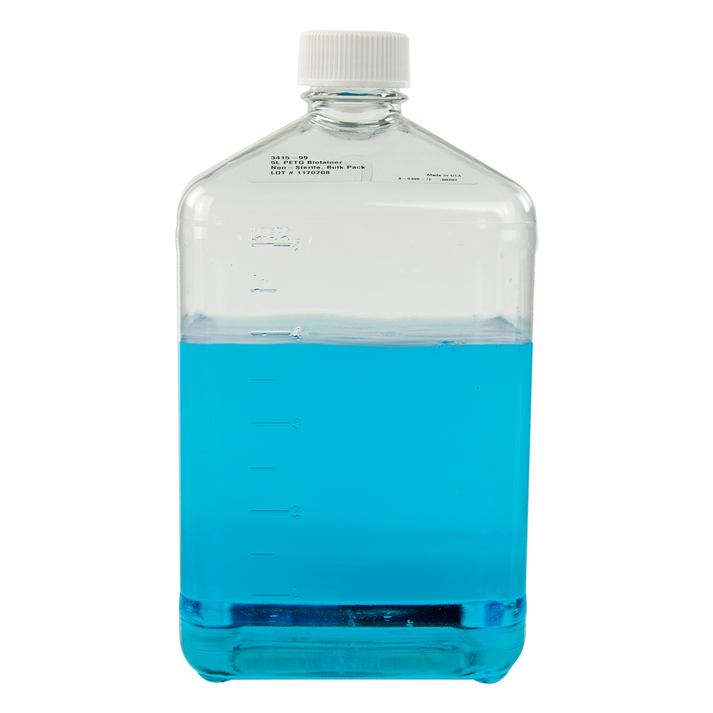 5 Liter Square Nalgene™ PETG Biotainer™ Bottle with 48mm Cap