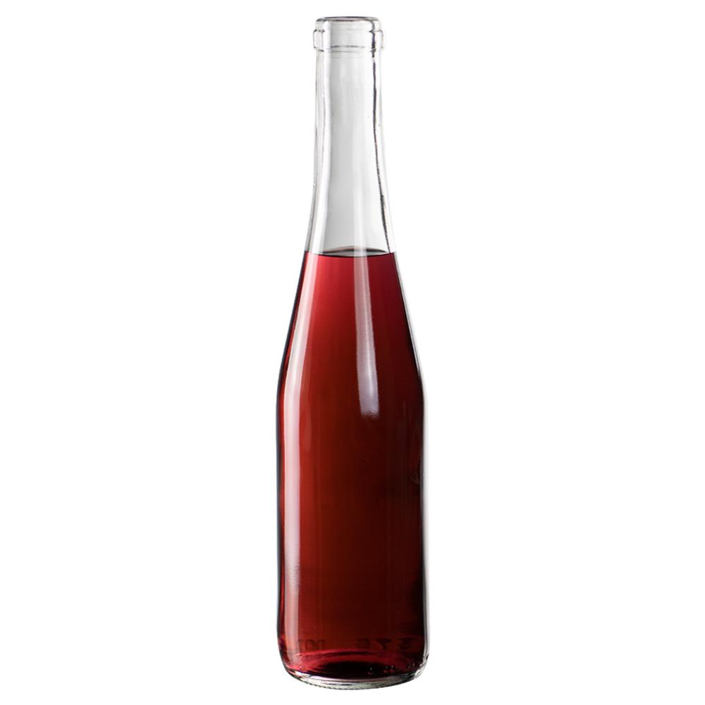 375mL Clear Glass Flat Bottom Bottle w/ Cork Neck