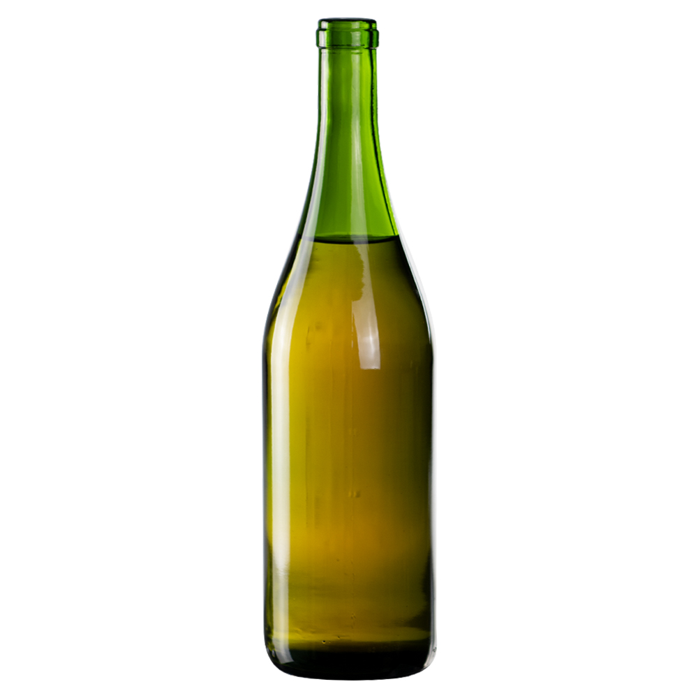 750mL Champagne Green Glass Flat Bottom Bottle w/ Cork Neck