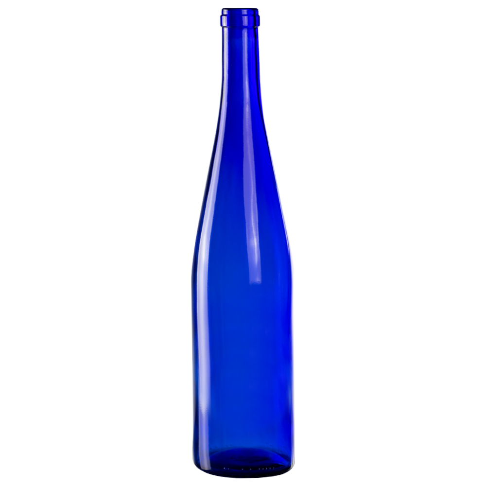 750mL Cobalt Blue Glass Flat Bottom Bottle w/ Tall Cork Neck