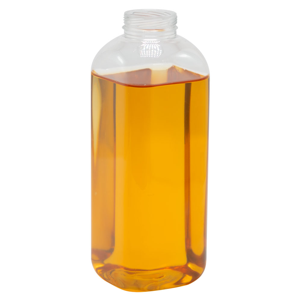 20 oz. Clear PET Rounded Square Bottle w/ 38mm ISS/IPEC Neck