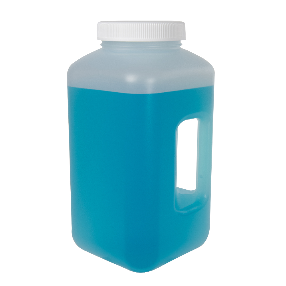 4 Liter Diamond® RealSeal™ Polypropylene Large Format Square Bottle with 100mm Cap and Handle