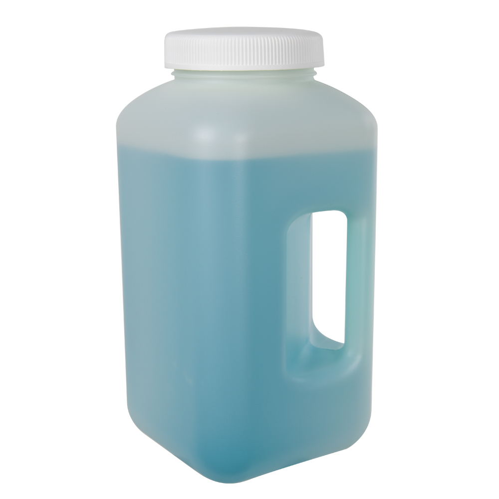 4L Diamond RealSeal™  HDPE Large Format Square Bottle with 100mm Cap and Handle