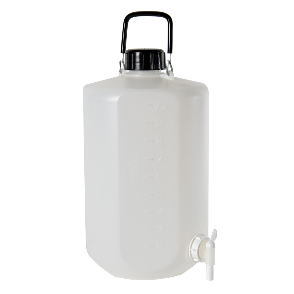 10L Narrow Mouth HDPE Hexagonal Carboy with Stopcock