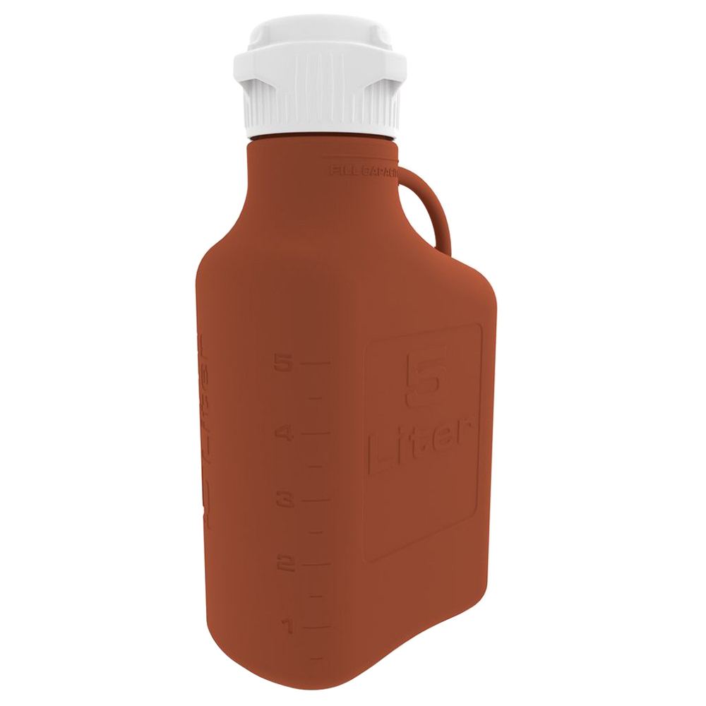 5 Liter Amber EZgrip® HDPE Carboy with 83mm Closed Cap