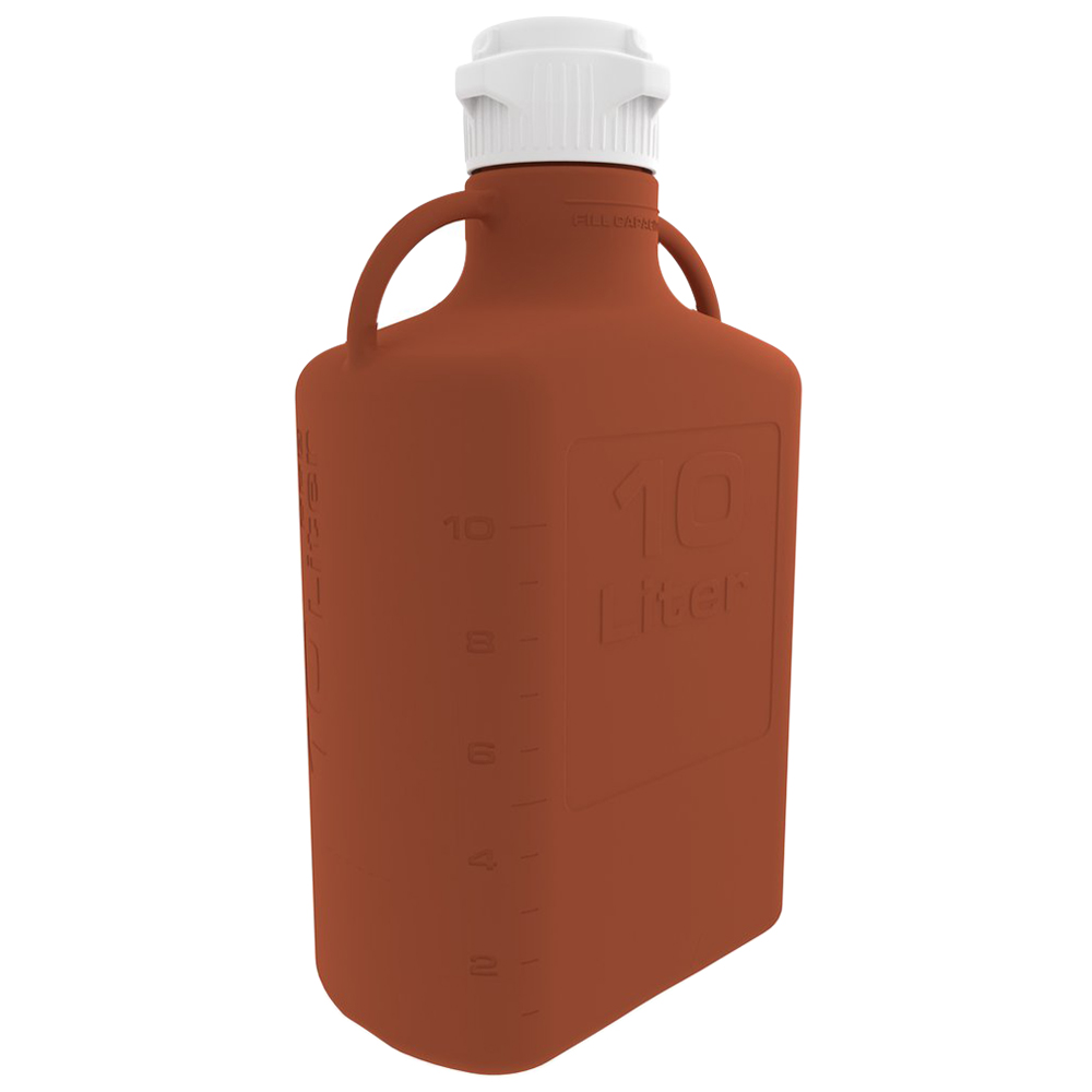 10 Liter Amber EZgrip® HDPE with 83mm Closed Cap