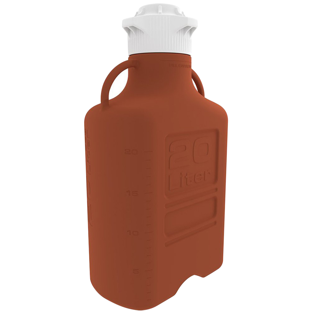 20 Liter Amber EZgrip® HDPE Carboy with 120mm Closed Cap