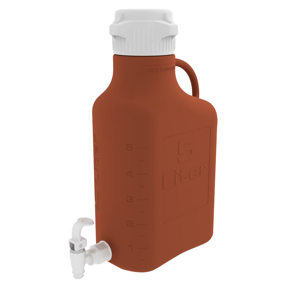 5 Liter Amber EZgrip® HDPE Carboy with 83mm Closed Cap & Spigot