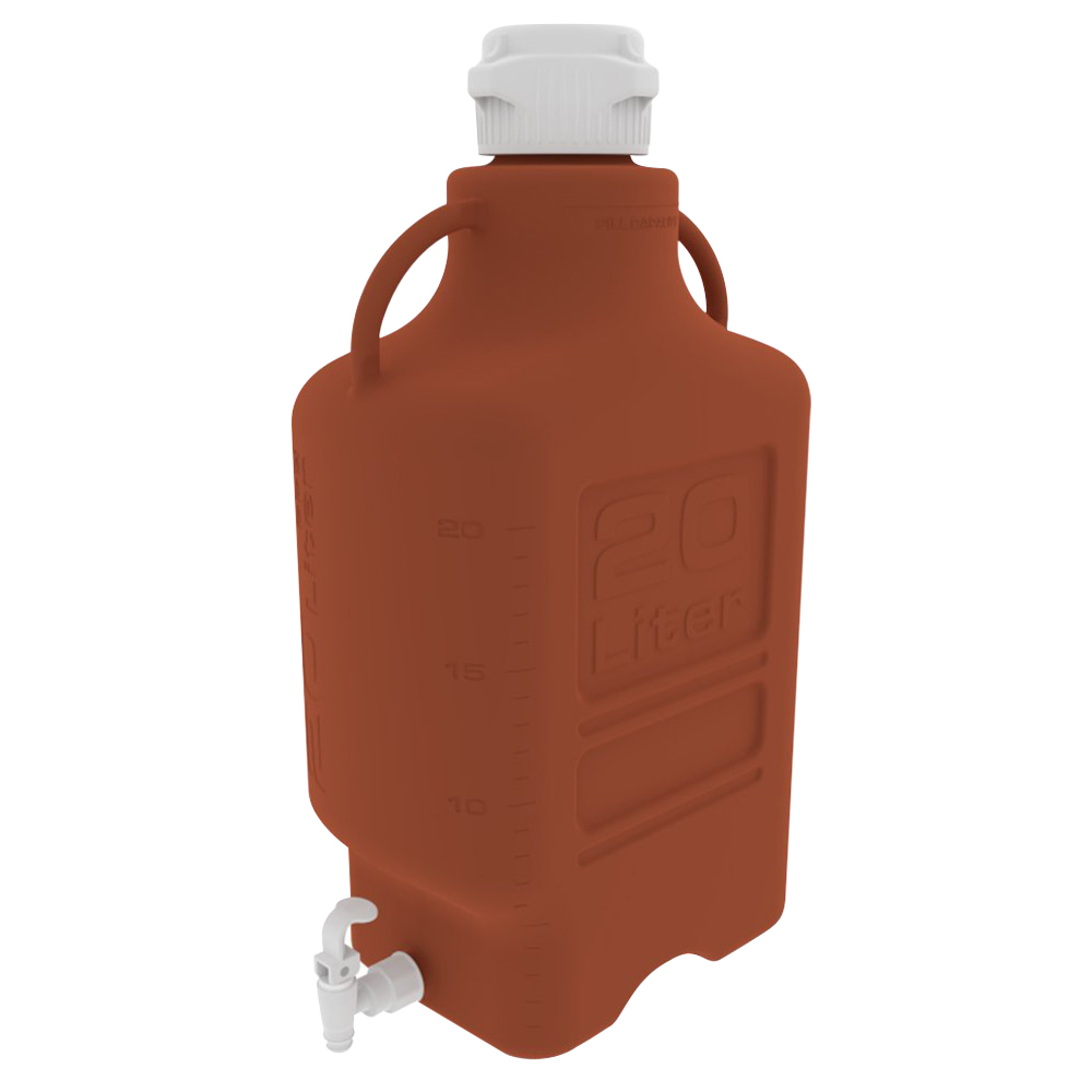 20 Liter Amber EZgrip® HDPE Carboy with 120mm Closed Cap & Spigot
