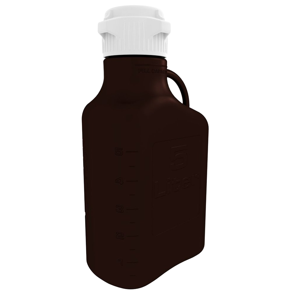 5 Liter Dark Amber EZgrip® HDPE Carboy with 83mm Closed Cap