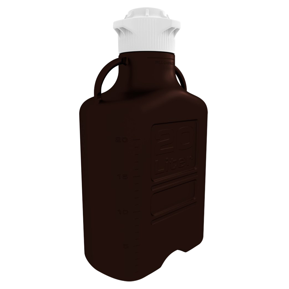 20L Dark Amber EZgrip® HDPE Carboy with 83mm Closed Cap