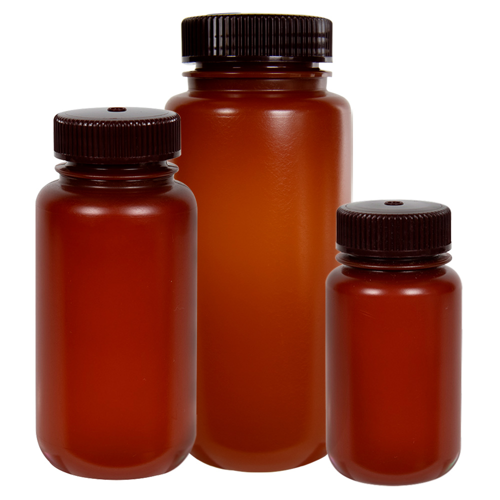 Thermo Scientific™ Nalgene™ Wide Mouth Translucent Amber HDPE Packaging Bottles with Caps