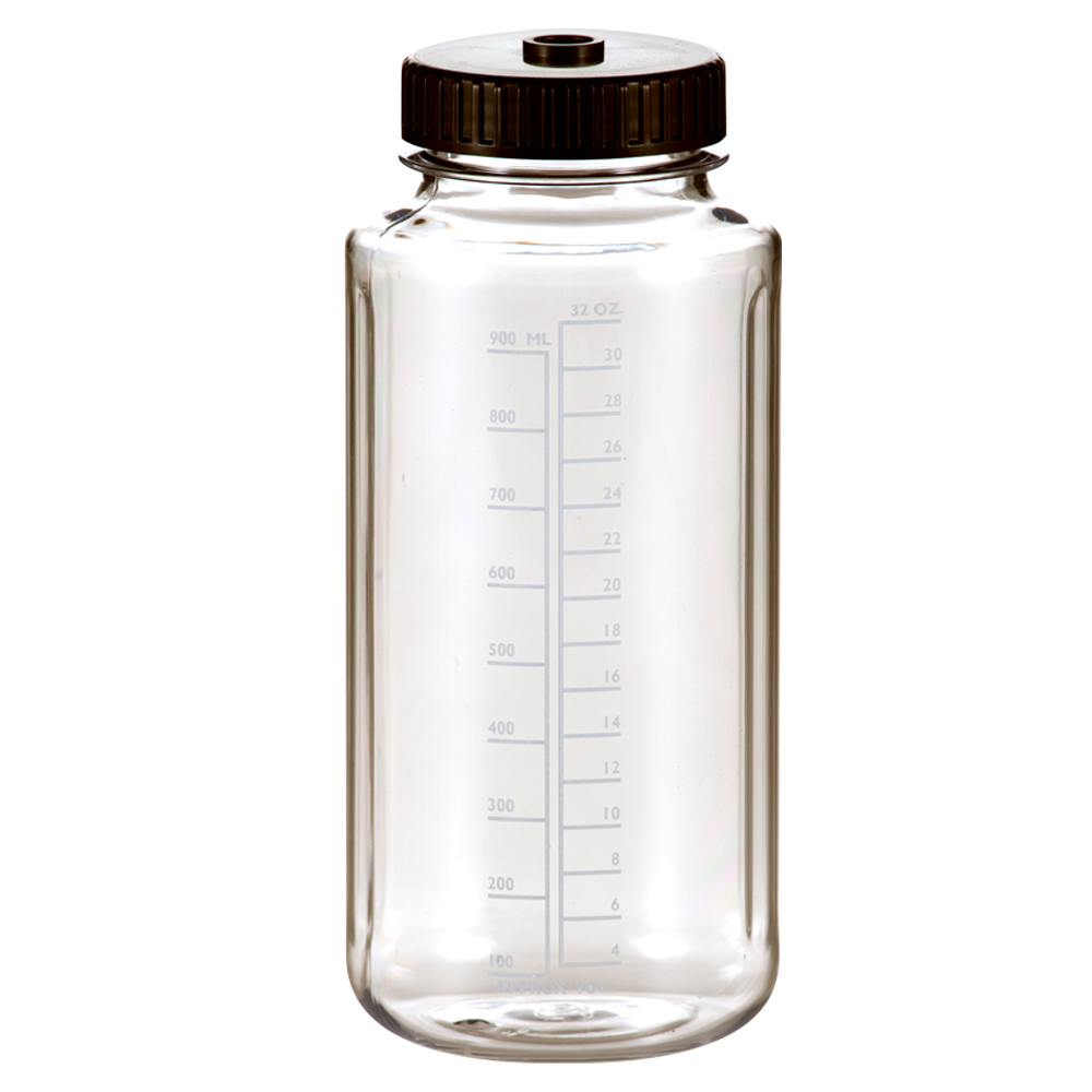 1000mL Polycarbonate Wide Mouth Graduated Bottles with 63mm Caps - Case of 48
