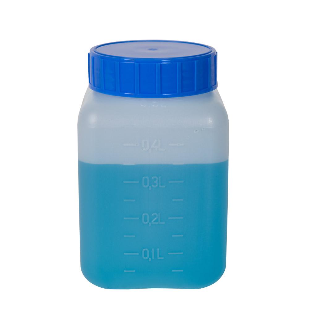 500mL Azlon® HDPE Rectangular Wide Mouth Graduated Bottle with Cap