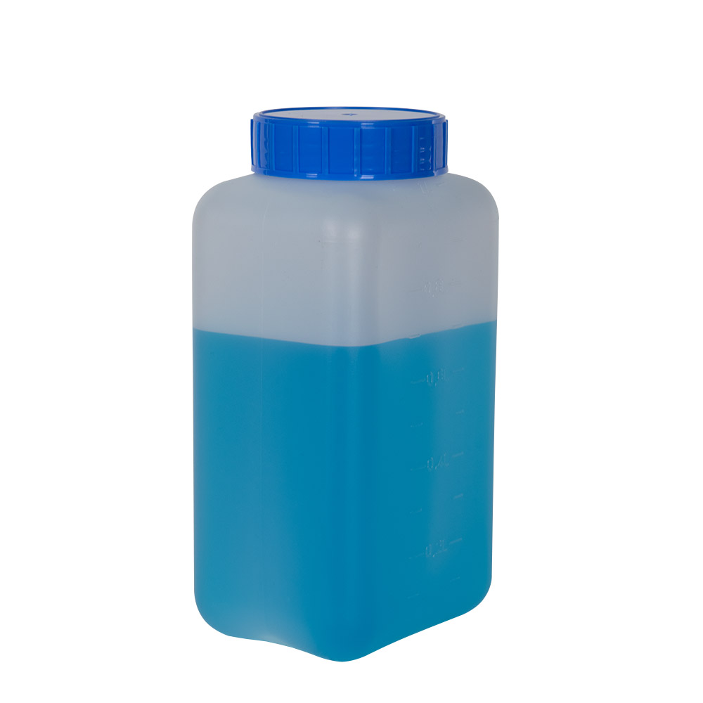 1000mL HDPE Rectangular Wide Mouth Graduated Bottle with Cap