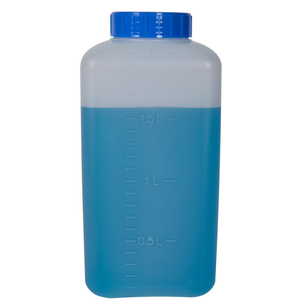 2000mL HDPE Rectangular Wide Mouth Graduated Bottle