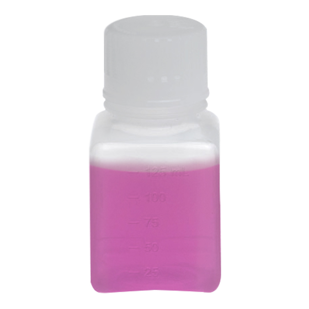 125mL Polypropylene Square Aseptic Graduated Bottles with 38/430 Standard Caps
