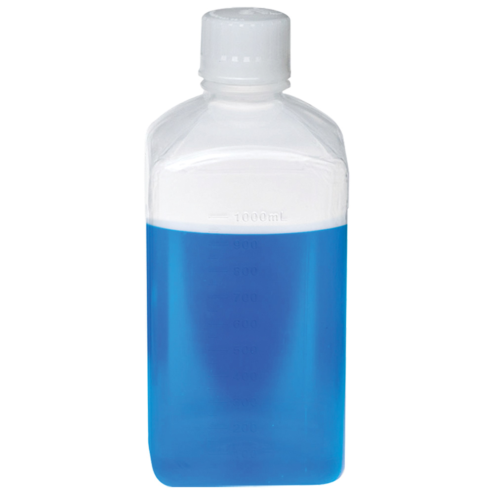 1000mL Polypropylene Square Aseptic Graduated Bottles with 38/430 Standard Caps - Case of 24