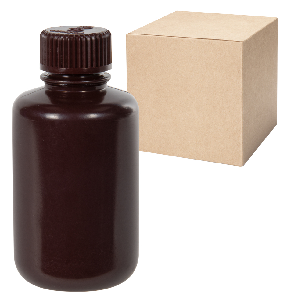 4 oz./125mL Nalgene™ Narrow Mouth Amber Bottles with 24mm Caps - Case of 72
