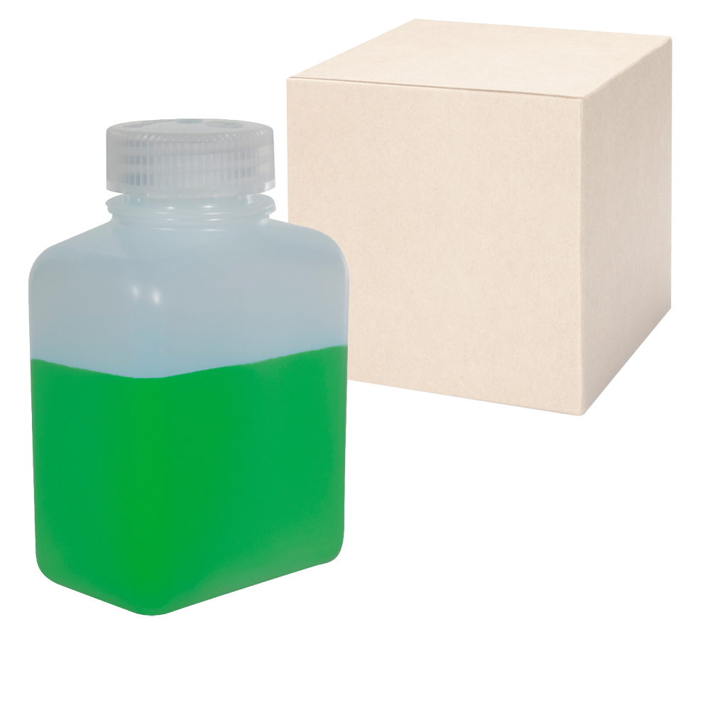 16 oz./500mL Nalgene™ HDPE Rectangular Bottles with 48mm Caps - Case of 48