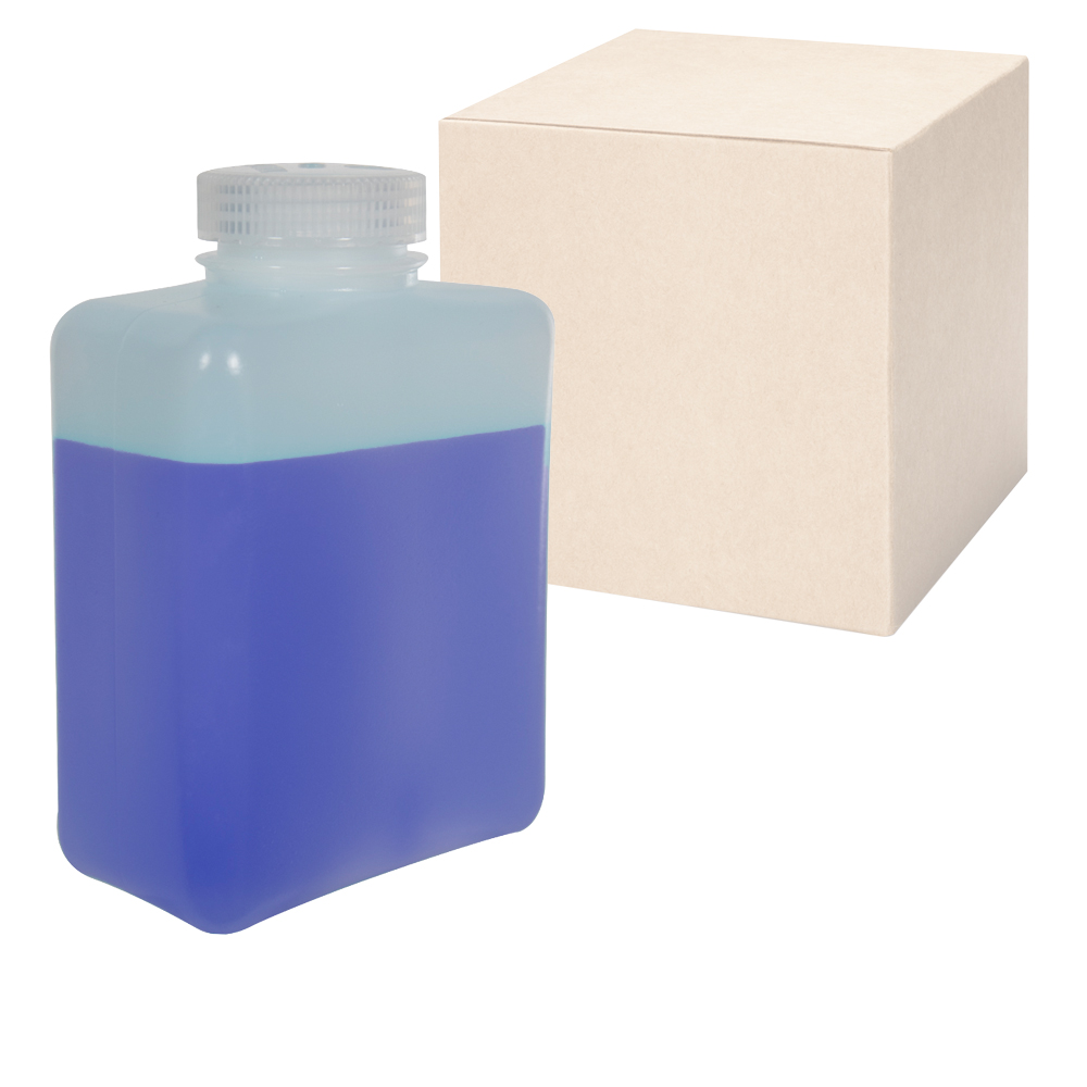 32 oz./1000mL Nalgene™ HDPE Rectangular Bottles with 53mm Caps - Case of 24