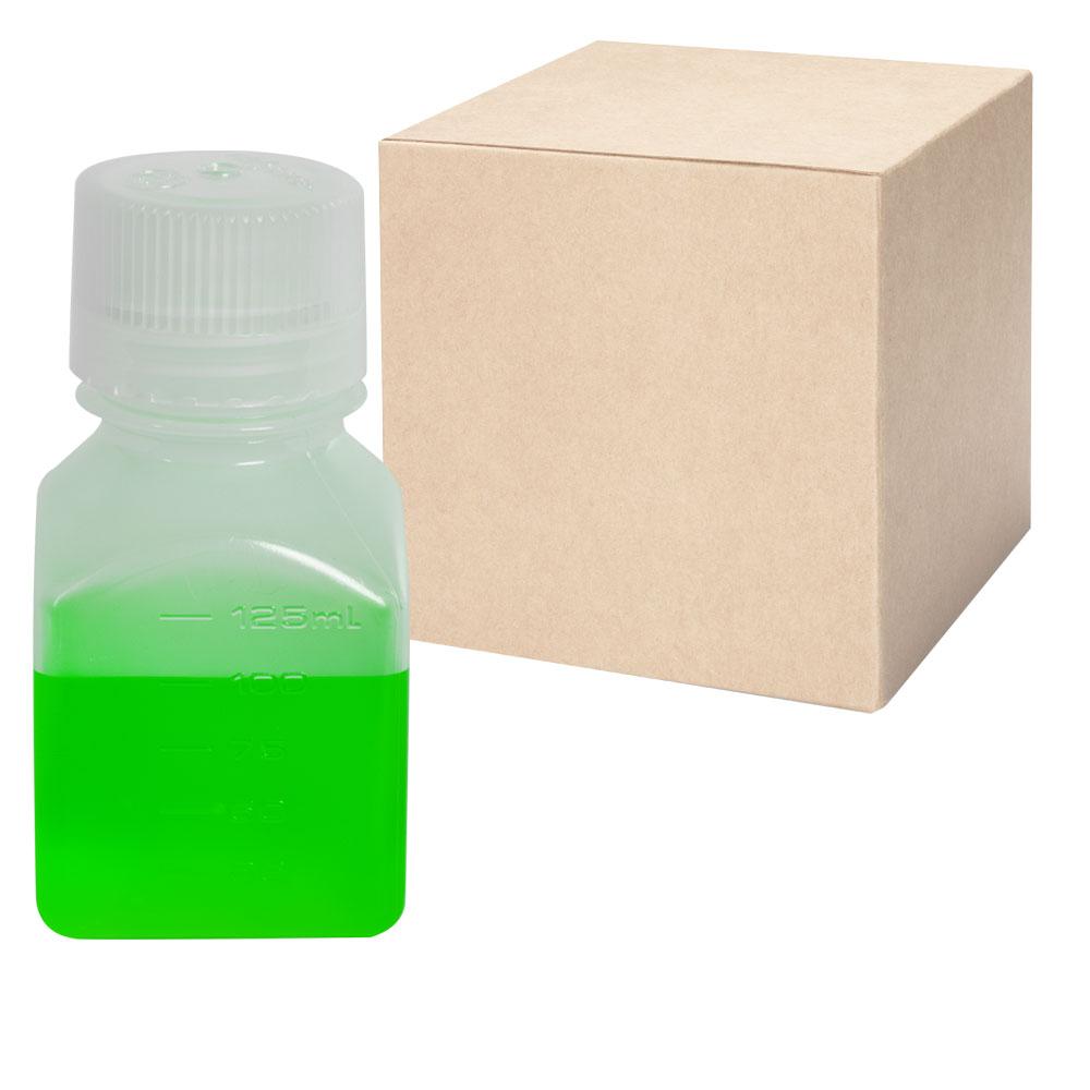4 oz./125mL Nalgene™ Narrow Mouth Polypropylene Square Bottles with 38/430 Caps - Case of 72